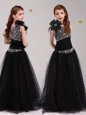 One Shoulder Tulle Sleeveless Floor Length Flower Girl Dress and Beading and Bowknot