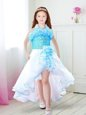 White and Aqua Blue Organza Zipper Halter Top Sleeveless High Low Toddler Flower Girl Dress Ruffles
