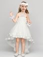 Halter Top Sleeveless Flower Girl Dresses for Less High Low Appliques and Bowknot White Organza