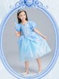 Fashion Square Tea Length A-line Short Sleeves Light Blue Toddler Flower Girl Dress Zipper