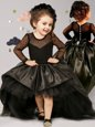 Best Black Ball Gowns Taffeta and Tulle Scoop Long Sleeves Bowknot With Train Clasp Handle Toddler Flower Girl Dress Brush Train