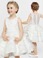 Hot Selling White Scoop Neckline Appliques and Ruffles Flower Girl Dresses for Less Sleeveless Clasp Handle