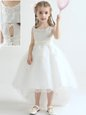 White Scoop Lace Up Appliques Flower Girl Dresses for Less Sleeveless