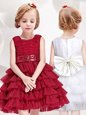 Trendy Scoop Sleeveless Tulle Flower Girl Dress Ruffled Layers and Sequins and Bowknot Zipper