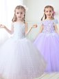 White Flower Girl Dress Party and Quinceanera and Wedding Party and For with Beading and Appliques Spaghetti Straps Sleeveless Zipper