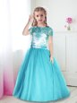Best Floor Length Turquoise Flower Girl Dresses Scoop Short Sleeves Zipper