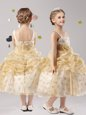 Gold Ball Gowns Straps Sleeveless Organza Tea Length Zipper Pick Ups and Hand Made Flower Flower Girl Dress