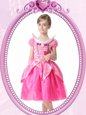 Clasp Handle V-neck Short Sleeves Flower Girl Dresses for Less Knee Length Beading and Hand Made Flower Hot Pink Organza
