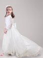 Dramatic Scoop Long Sleeves Tulle With Brush Train Zipper Flower Girl Dresses in White for with Lace and Bowknot