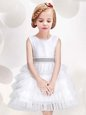 Shining Tulle Scoop Sleeveless Zipper Ruffled Layers and Sequins and Bowknot Flower Girl Dresses in White