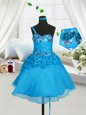 Knee Length Baby Blue Little Girl Pageant Dress Sweetheart Sleeveless Lace Up