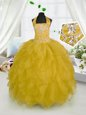 Floor Length Gold Girls Pageant Dresses Halter Top Sleeveless Lace Up