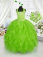 Elegant Halter Top Sleeveless Organza Lace Up Child Pageant Dress for Party and Wedding Party