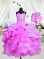 Fashionable Floor Length Lace Up Girls Pageant Dresses Purple and In for Party and Wedding Party with Beading and Ruffles