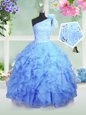 One Shoulder Sleeveless Organza Little Girls Pageant Dress Wholesale Beading and Ruffles Lace Up