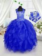 Halter Top Organza Sleeveless Floor Length Little Girls Pageant Gowns and Appliques and Ruffles