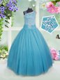 Asymmetric Sleeveless Tulle Girls Pageant Dresses Beading Side Zipper