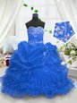 Blue Ball Gowns Organza Sweetheart Sleeveless Beading and Ruffled Layers and Pick Ups Floor Length Lace Up Child Pageant Dress