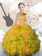 Floor Length Ball Gowns Sleeveless Orange Girls Pageant Dresses Lace Up