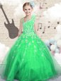 Sleeveless Floor Length Beading and Appliques and Hand Made Flower Lace Up Kids Pageant Dress with Green