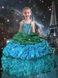 Sleeveless Beading and Ruffles and Pick Ups Lace Up Pageant Gowns For Girls