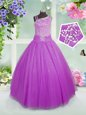 Affordable Lilac Ball Gowns Asymmetric Sleeveless Tulle Floor Length Lace Up Beading Little Girls Pageant Dress Wholesale