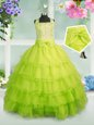 Apple Green Sleeveless Floor Length Beading and Ruffled Layers Zipper Little Girl Pageant Gowns