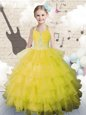 Popular Halter Top Yellow Green Ball Gowns Beading and Ruffled Layers Little Girls Pageant Dress Lace Up Organza Sleeveless Floor Length