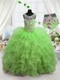 Amazing Organza Lace Up Scoop Sleeveless Floor Length Kids Formal Wear Beading and Ruffled Layers