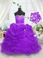 Sweetheart Sleeveless Child Pageant Dress Floor Length Beading and Ruffled Layers and Pick Ups Purple Organza