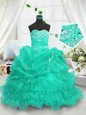 Turquoise Sleeveless Beading and Ruffled Layers and Pick Ups Floor Length Little Girl Pageant Gowns
