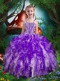 Lovely Eggplant Purple Sleeveless Beading and Ruffles Floor Length Kids Pageant Dress