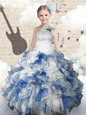 Fantastic Ball Gowns Little Girls Pageant Dress Blue And White One Shoulder Organza Sleeveless Floor Length Lace Up