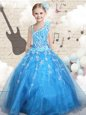 High End Sleeveless Floor Length Beading and Ruffled Layers and Pick Ups Lace Up Pageant Gowns For Girls with Orange