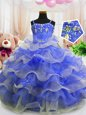 Pick Ups Floor Length Royal Blue Kids Pageant Dress Straps Sleeveless Zipper