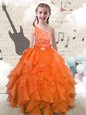 Turquoise Sleeveless Tulle Lace Up Little Girls Pageant Gowns for Party and Wedding Party