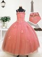 Watermelon Red Tulle Zipper Spaghetti Straps Sleeveless Floor Length Pageant Gowns For Girls Beading and Appliques