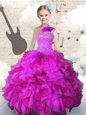 Customized One Shoulder Organza Sleeveless Floor Length Pageant Gowns For Girls and Beading and Ruffles