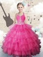 Halter Top Hot Pink Sleeveless Floor Length Beading and Ruffled Layers Lace Up Little Girl Pageant Gowns