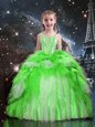 Beading and Ruffles Pageant Gowns For Girls Fuchsia Lace Up Sleeveless Floor Length