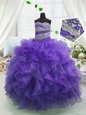 Admirable Sleeveless Organza Floor Length Lace Up Child Pageant Dress in Eggplant Purple for with Beading and Ruffles