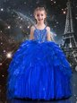 Floor Length Royal Blue Little Girl Pageant Dress Spaghetti Straps Sleeveless Lace Up