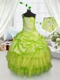 Yellow Green One Shoulder Neckline Beading and Ruffled Layers and Pick Ups Little Girl Pageant Dress Sleeveless Lace Up