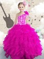 Hot Pink Little Girls Pageant Dress Wholesale Party and Wedding Party and For with Embroidery and Ruffles and Hand Made Flower One Shoulder Sleeveless Lace Up
