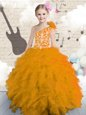 Orange Ball Gowns Organza One Shoulder Sleeveless Embroidery and Ruffles and Hand Made Flower Floor Length Lace Up Little Girls Pageant Dress
