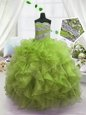 Classical Olive Green Lace Up Girls Pageant Dresses Beading and Ruffles Sleeveless Floor Length