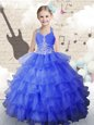 Best Halter Top Floor Length Royal Blue Girls Pageant Dresses Organza Sleeveless Beading and Ruffled Layers