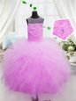 Floor Length Hot Pink Pageant Gowns For Girls Scoop Sleeveless Zipper