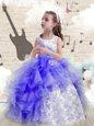 Hot Selling Halter Top Sleeveless Beading and Ruffles Lace Up Kids Pageant Dress