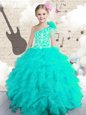 One Shoulder Sleeveless Organza Child Pageant Dress Embroidery and Ruffles and Hand Made Flower Lace Up